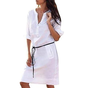 Vestidos Largos Mujer,Modaworld ❤ Vestidos de Camisa de Bolsillo de Botones Casuales para