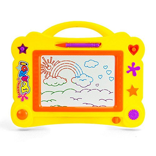 Erasable Slate (Magnetic Drawing Board Doodle Sketch Board For Baby Toddler,Erasable Colorful Magnet Writing Pad With A Pencil And 2 Stamps,Magna Doodle Board For Kids Learning Write And Painting(11.8