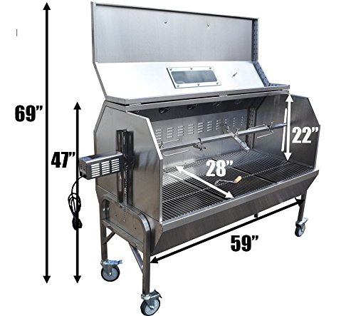 EXTRA LARGE Stainless Steel 59 Inch Spit Roaster w/ large Upgraded Stainless Hood Heavy duty 40 watt motor