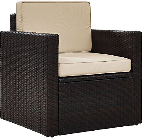 Crosley Furniture KO70088BR-SA Palm Harbor Outdoor Wicker Arm Chair with Sand Cushions, Brown
