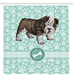 Cute Shower Curtains Dog Shower Curtain Animal Decoration Bulldog by Ambesonne, Apartment Decor Adorable Purebred Cute Furry English Puppy Doggy Friendly Pet Owner Art Prints Dogs Vintage Bone Toy Fabric, Mint Green Khaki