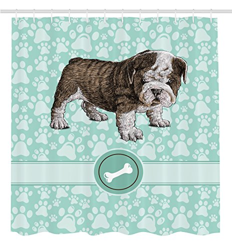 [Dog Shower Curtain Animal Decoration Bulldog by Ambesonne, Apartment Decor Adorable Purebred Cute Furry English Puppy Doggy Friendly Pet Owner Art Prints Dogs Vintage Bone Toy Fabric, Mint Green Khaki] (Furry Puppy)