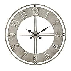 WHW Whole House Worlds Industrial Chic Analog Clock, Distressed Finish, Metal, Quartz Movement, Over 2.5 Feet Diameter (30.75 Inches) 1 AA Battery (Not Included) Loft Living Collection