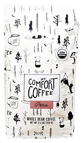 Mount Comfort Coffee Organic Whole Bean Coffee, Peru, 2.5 Pound