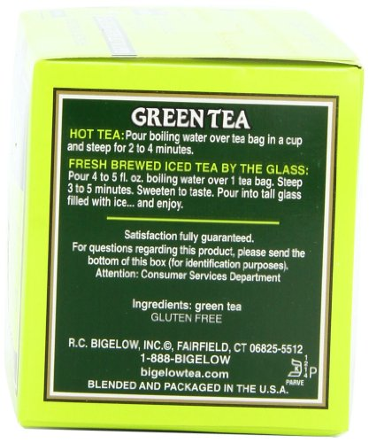 Bigelow Green Tea Bags, 20 Count Box (Pack of 6) Caffeinated Green Tea, 120 Tea Bags Total 3 DELICATE GREEN TEA: Our Classic Green Tea provides essential antioxidants making it delicious & healthy! Enjoy it as traditional hot tea or iced tea. INDIVIDUALLY WRAPPED: Bigelow tea always come individually wrapped in foil pouches for peak flavor, freshness and aroma to enjoy everywhere you go! Gluten -free, calorie-free, & Kosher certified. TRY EVERY FLAVOR: There's a tea for morning, noon & night time relaxation. Try our English Breakfast, Vanilla Chai, antioxidant Green Tea, decaffeinated, organic teas & a variety of our herbal tea bags.