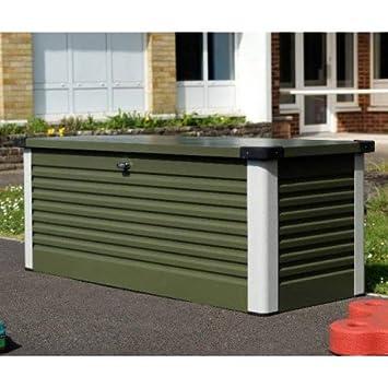 Baúl de almacenaje Design en metal 1.06 metros cuadrados patiobox - Color Verde Oliva - Trimetals: Amazon.es: Jardín