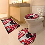 Pug Bath mat and Toilet mat Set Funny Dog Watching Movie Popcorn Soft Drink and Glasses Animal Photograph Print Toilet Carpet Floor mat Red Cream Ruby