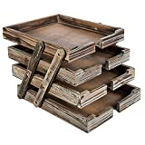 4-Tier Distressed Brown Wood Desktop Document Paper Organizer Collapsible & Expandable Stacking Trays Review