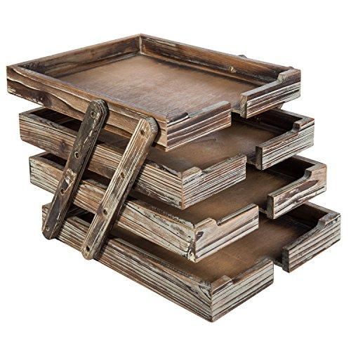 4-Tier Distressed Brown Wood Desktop Document Paper Organizer Collapsible & Expandable Stacking Trays by MyGift