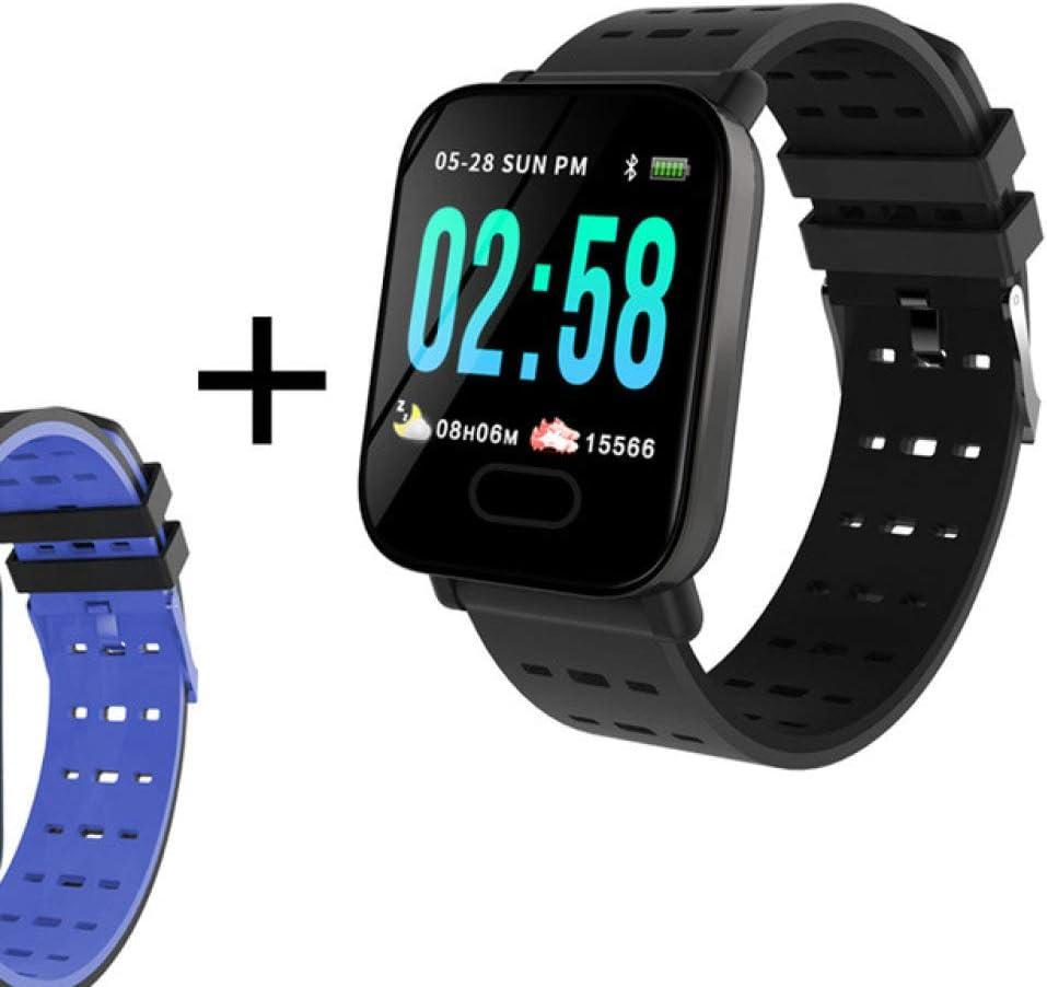 AAA&LIU Reloj Inteligente A6 Rastreador de Ritmo cardíaco Presión Arterial GPS Pulsera Inteligente Impermeable Reloj de Mujer Reloj Inteligente Pasómetro, Correa Negra y Azul