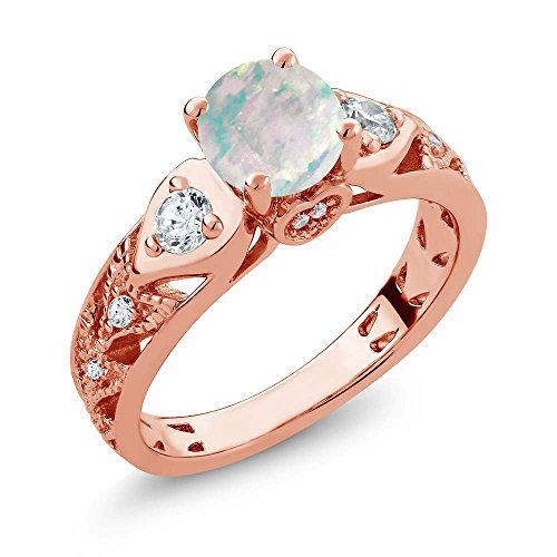 (Gem Stone King 1.56 Ct Round Cabochon White Simulated Opal 18K Rose Gold Plated Silver Engagement Ring (Size 8))