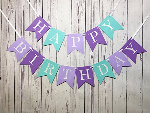 Glitter Mermaid Under the Sea Happy Birthday Banner Baby Girl Boy Birthday Party Decoration