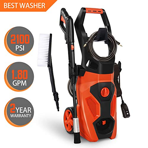 ENSTVER Electric Power Washer,2100PSI 1.8 GPM 1800W Pressure Cleaner Machine with Spray Gun,Spray Brush,Adjustable Nozzles and Onboard Detergent Tank