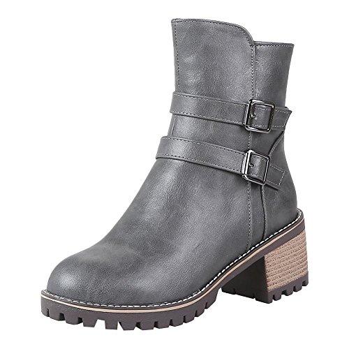Mee Shoes Damen chunky heels Reißverschluss gefüttert Stiefeletten Grau