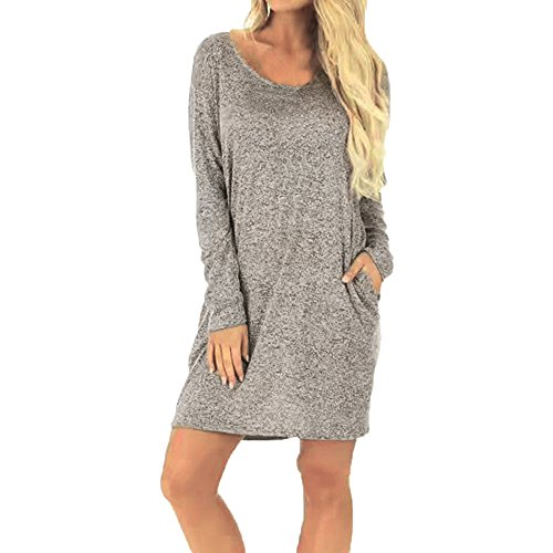 ZOMUSA Women's Simple Solid Round Neck Backless T-Shirt Long Sleeve Loose Above-Knee Dress With Pocket (L, Gray) by ZOMUSA