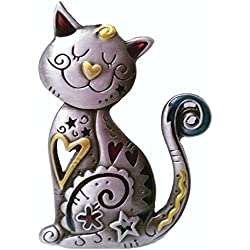 Spoontiques Smiling CAT Kitten Pewter PIN with Color Enamel Accents