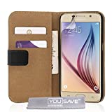 Yousave Accessories Samsung Galaxy S6 Case Black Genuine Leather Wallet Cover