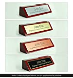 Engravers Central Personalized Wooden Executive Business Office Desk Name Plate - Rosewood Piano Finish With Card Holder - CUSTOMIZE - (2x8)