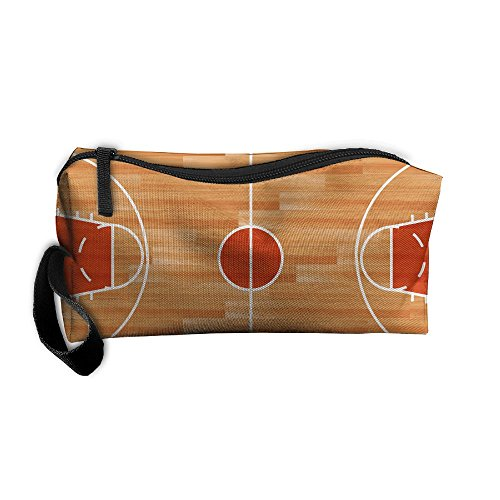 Wooden Parquet Floor Basketball Court Pattern Makeup Bag Calico Girl Women Travel Portable Cosmetic Bag Sewing Kit Stationery Bags Cute Storage Pouch Bag Multi-function Bag