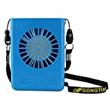 Global-Store Personal Necklace Fan, Small USB Fan Portable Desk Battery Operated 3 Speeds for Office Home Table(18650 Battery Included) (Blue)