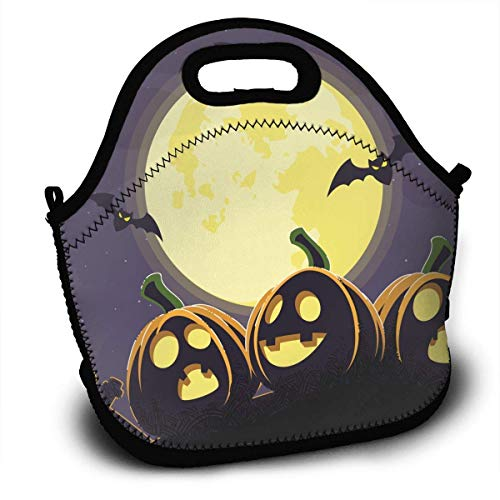 Halloween Portable Lunch Tote Bags, Takeaway Lunch Box, Outdoor Travel Fashionable Handbag for Men Women Kids Girls -