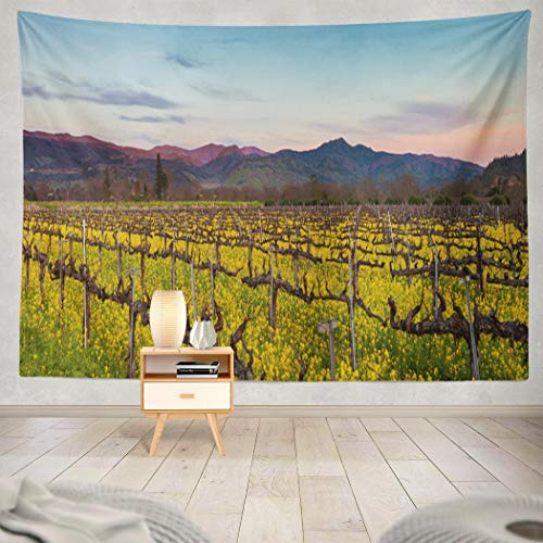 Yararg Country Tapestry, Wall Hanging Tapestry Valley Wine Country Sunset Winter California Vineyard with Wall Tapestry Dorm Home DÃcor Bedroom Living Room in 80X60 Inches,Valley Wine