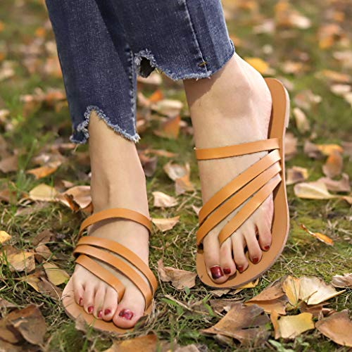 Womens Open Toe Breathable Beach Sandals,Casual Slip-On Ankle Strap Flats Rome Slippers Flip-Flops Shoes Size 5-9 (Brown, US:9)