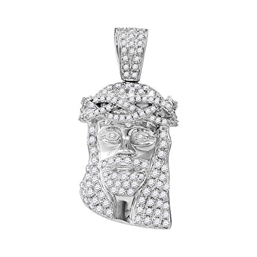 Roy Rose Jewelry 10K White Gold Mens Round Diamond Jesus Christ Messiah Head Charm Pendant 3/4-Carat ()