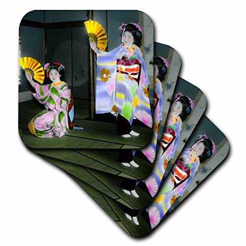 3dRose 3D Rose Vintage Dancing Japanese Geisha and Their Beautiful Harisen Old Japan Soft Coasters, Multicolor by 3dRose