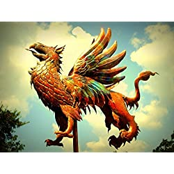 Griffin Weathervane by David Smith, Original Copper Weather Vane, Copper Sculpture for Home or Garden, Architectural Art, Garden Art, Weather Vane