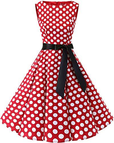 Bbonlinedress Women's 1950s Audrey Summer Vintage Rockabilly Swing Dress Red White BDot 2XL]()