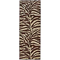 Rugs 4 Less Collection Sculpted Brown Zebra Skin Print Runner Area Rug R4L 245 (32 Inches X 7 Feet)