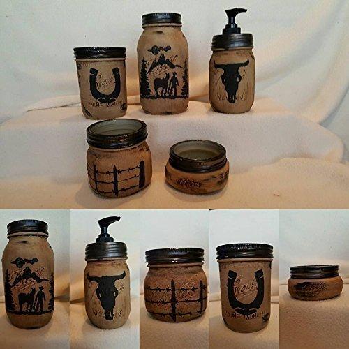 Western Mason Jar Bathroom Set (Sets Bathroom Country)