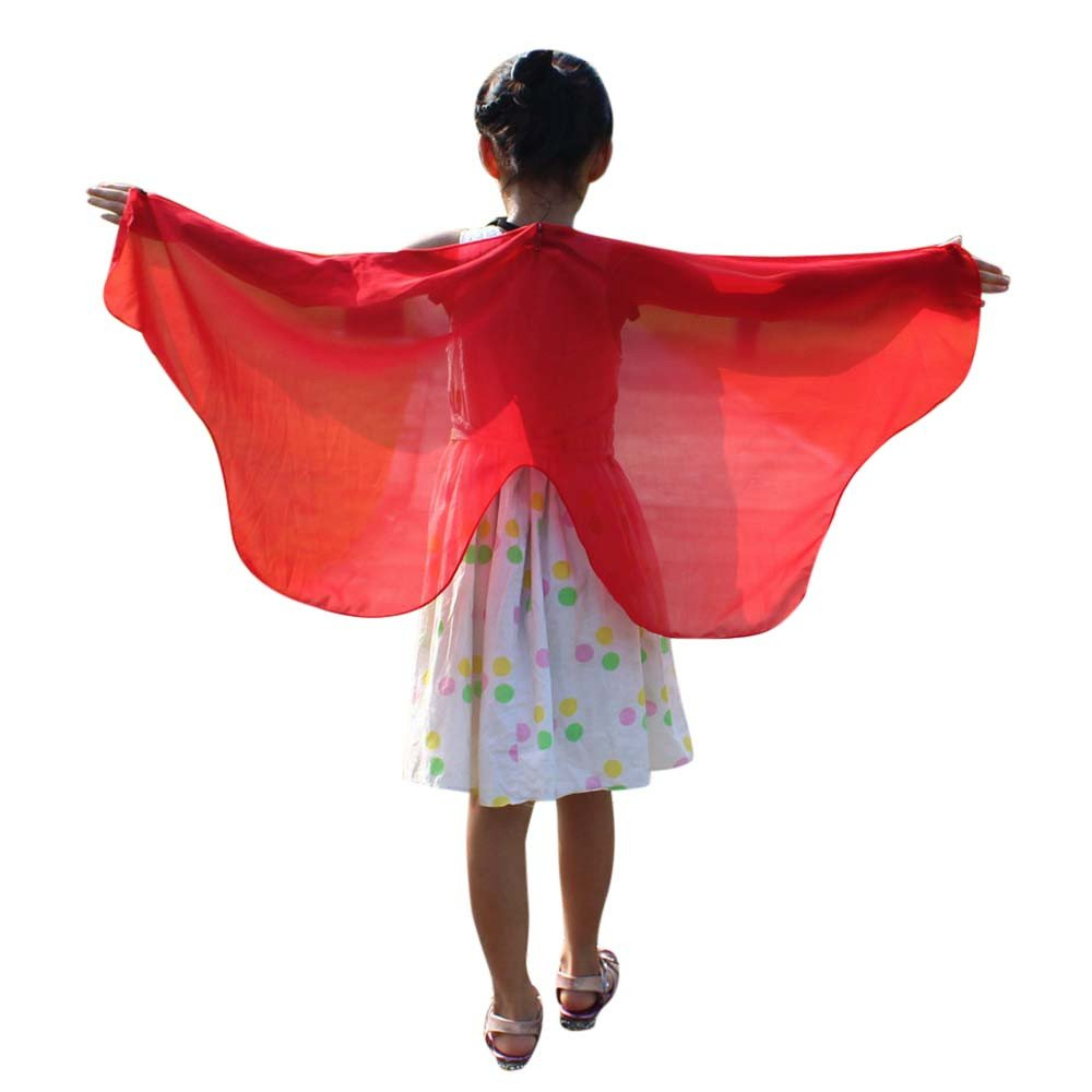 NUWFOR Christmas Dresses for Women, Soft Fabric Butterfly Wings Shawl Fairy Ladies Nymph Pixie Costume Accessory?Red?One Size?