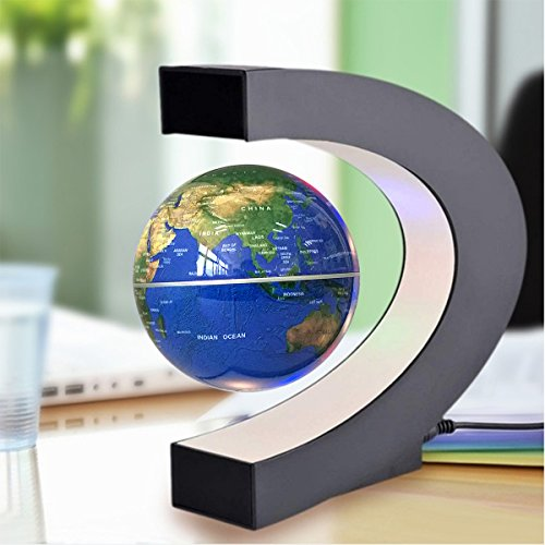 """Floating Globe, 3"""" C Shape Magnetic Levitation Floating Globe World Map with Colored LED Light Anti Gravity Globe for Children Gift Home Office Desk Decoration, by Woodlev"""