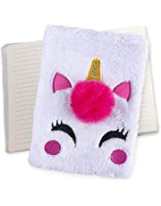 ArtCreativity Unicorn Plush Journal for Kids, Cute Diary for Girls with 80 Lined Pages, Notebook for Journaling and Drawing, Unicorn Birthday Gift, Unique Back to School Supplies