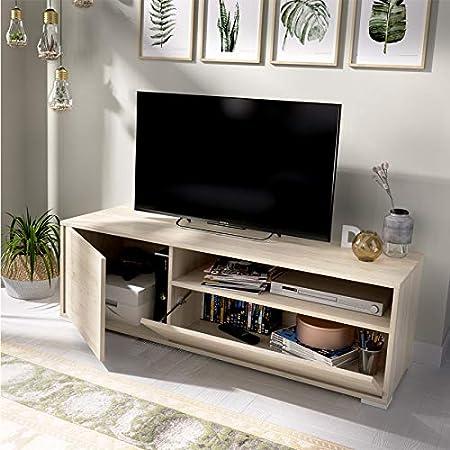 HABITMOBEL Mueble de televisión Prima, Medidas Alto 40cm x Ancho 130cm x 41cm Fondo: Amazon.es: Hogar