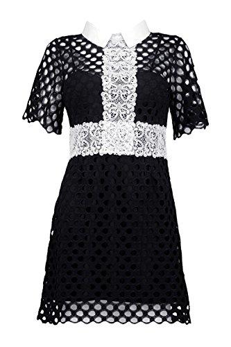 Schwarz Damen Boutique Bethany Crochet Lace Halsband Kleid - 8 i7cN07u