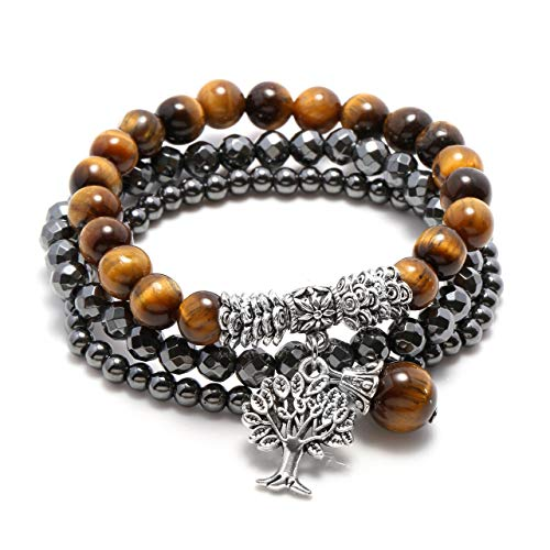 Jovivi 3pcs Tree of Life Tiger Eye Chakra Bracelet Hematite Healing Energy Therapy Stack Bracelet Set for Women