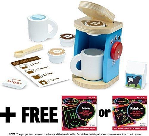 Wooden Brew & Serve Coffee Set+ FREE Melissa & Doug Scratch Art Mini-Pad Bundle - Set Play Coffee Maker