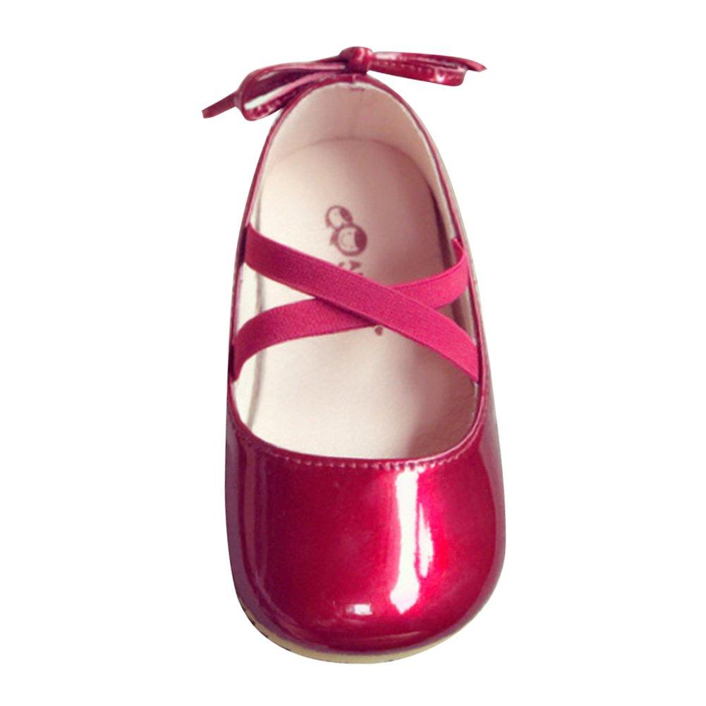 hibote M/ädchen Mary Jane Halbschuhe Leder Prinzessin Schuhe Baby Ballerina Sandalen Anti-Rutsch Taufschuhe 18041706