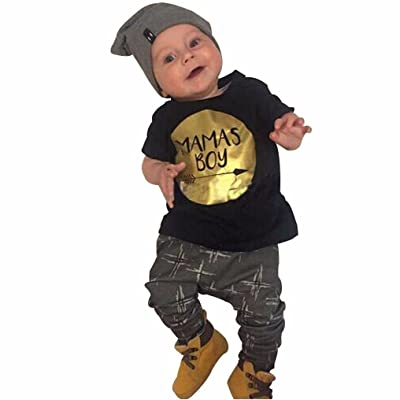 Baby's Clothes Set, Boomboom Newborn Boys MOM's Boys Letter T-shirt +Pants Sets