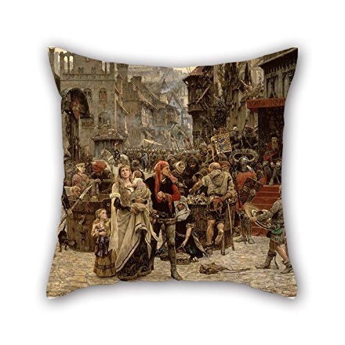 Valdemar Set - Oil Painting Carl Gustaf Hellqvist - Valdemar Atterdag Holding Visby To Ransom, 1361 Pillow Cases 18 X 18 Inches / 45 By 45 Cm For Boys,kids,car,teens Boys,kids Room,deck Chair With 2 Sides