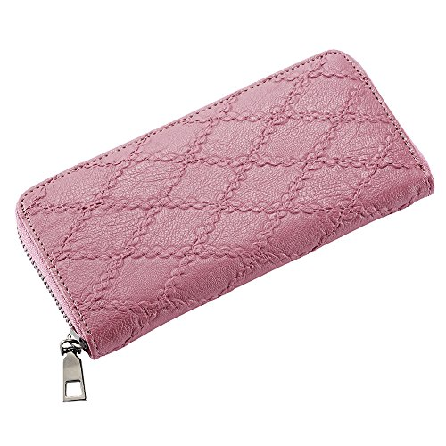 Zip Around PU Leather Clutch Handbag Wallet Purse With Zipper Pocket For (Ten Ladies Zip Around Wallet)