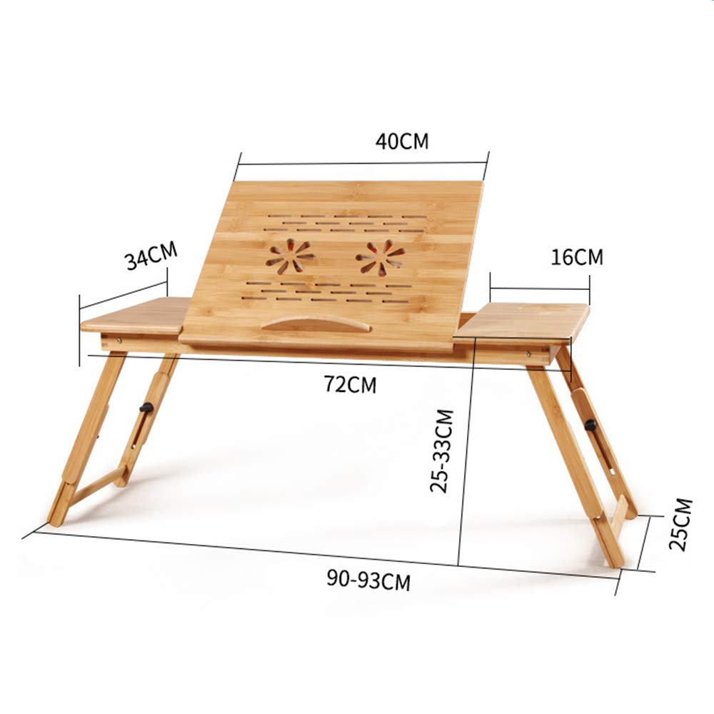 Cxmm Bamboo Bed Table, Foldable Portable Adjustable Non-Slip with Drawer Fan Stable Bed Tray Play Games Laptop Stand Sofa by Cxmm (Image #4)