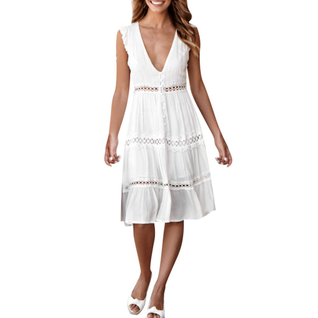 Women's Dresses - Summer Hollow Out Lace Patchwork Casual Party Dress Swing A line Midi Dress White