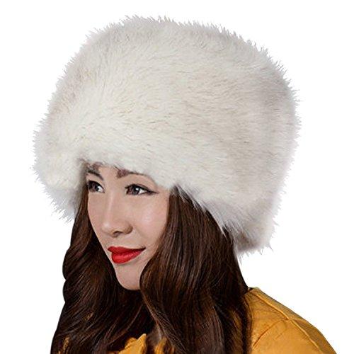 Kafeimali Women's Faux Fox Fur Russian Cossack Ski Christmas Caps Cable Knit Beanie (White) (Hat White Fur)