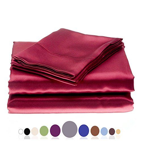 Top JUWENIN Silky Soft Solid Matte-Satin Bed Sheet Sets Shiny-Free,Deep Pocket (Full/Queen, Wine Red) for cheap