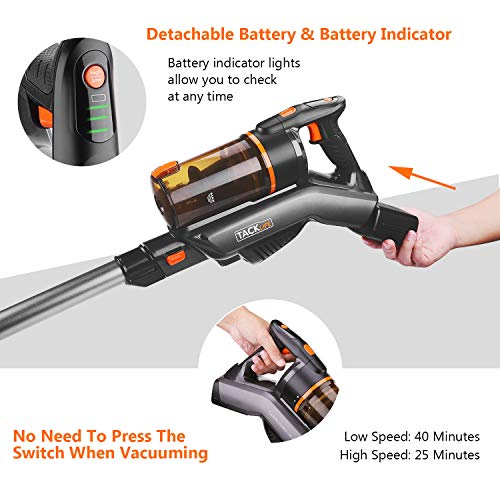 TACKLIFE Cordless Vacuum Cleaner 2-in-1 Handheld Lightweight with LED Headlight and Wall Mount, Perfect for Carpet, Floor and Pet Hair- VCST01A