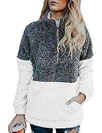 Women Button Neck Fleece Pullover Coat Asymmetrical Sweatshirts Outwear
